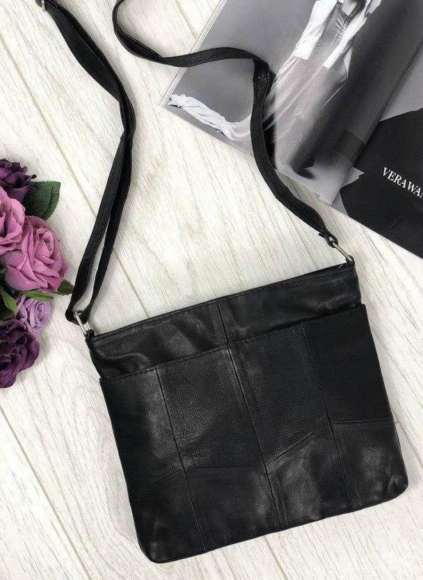 Жіноча сумка чорна натуральна шкіра код 22-30
