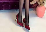 Туфли женские бордовые замшевые на каблуке Т1163, фото 4