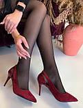 Туфли женские бордовые замшевые на каблуке Т1163, фото 5