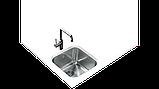Квадратная кухонная мойка Тека BE 40.40 (25)  под столешницу 40*40, фото 5