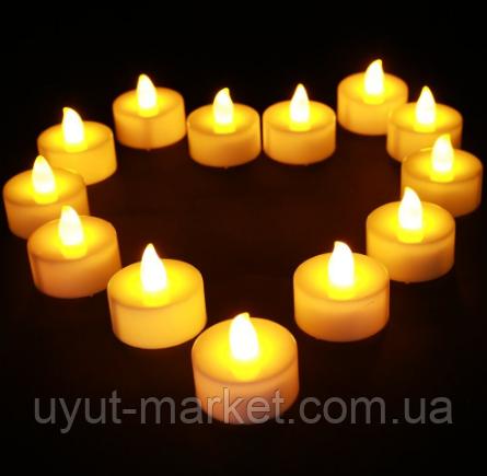 Светодиодная свеча чайная 10шт, 39х37мм - фото 1