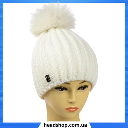 """Жіноча шапка """"Каріна"""" Біла - зимова шапка на флісі з помпоном, фото 2"""