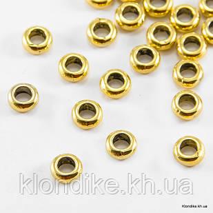 Бусины-Разделители, Круглые-плоские, Сплав, 7×3 мм, Цвет: Золото (30 шт.)