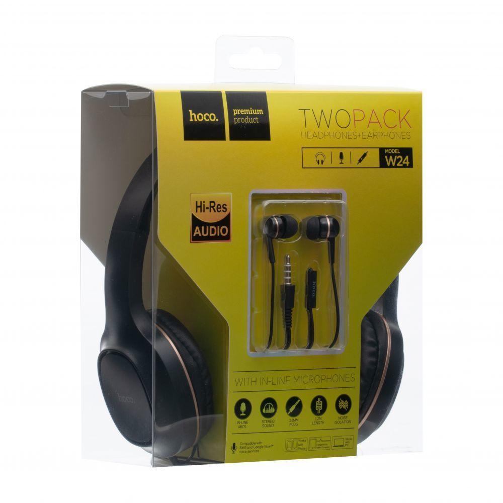 Наушники проводные HOCO W24+ наушники вакуумные с микрофоном