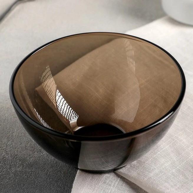 Гладкий порционный салатник из дымчатого стекла Luminarc Амбьянте Эклипс 120 мм (L5174)