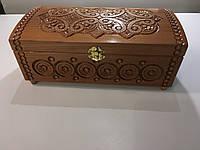 Дерев'яна шкатулка скринька для прикрас інхрустована бісером довжина 30см. ширина15 См. висота 12см, фото 1