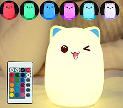 Силіконовий дитячий нічник «Котик» 7 LED квітів USB нічник-світильник