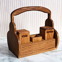 "Деревянный набор для специй с ручкой для переноса ""Хуторок"" 120мм х 195мм х 200мм h, Дуб"