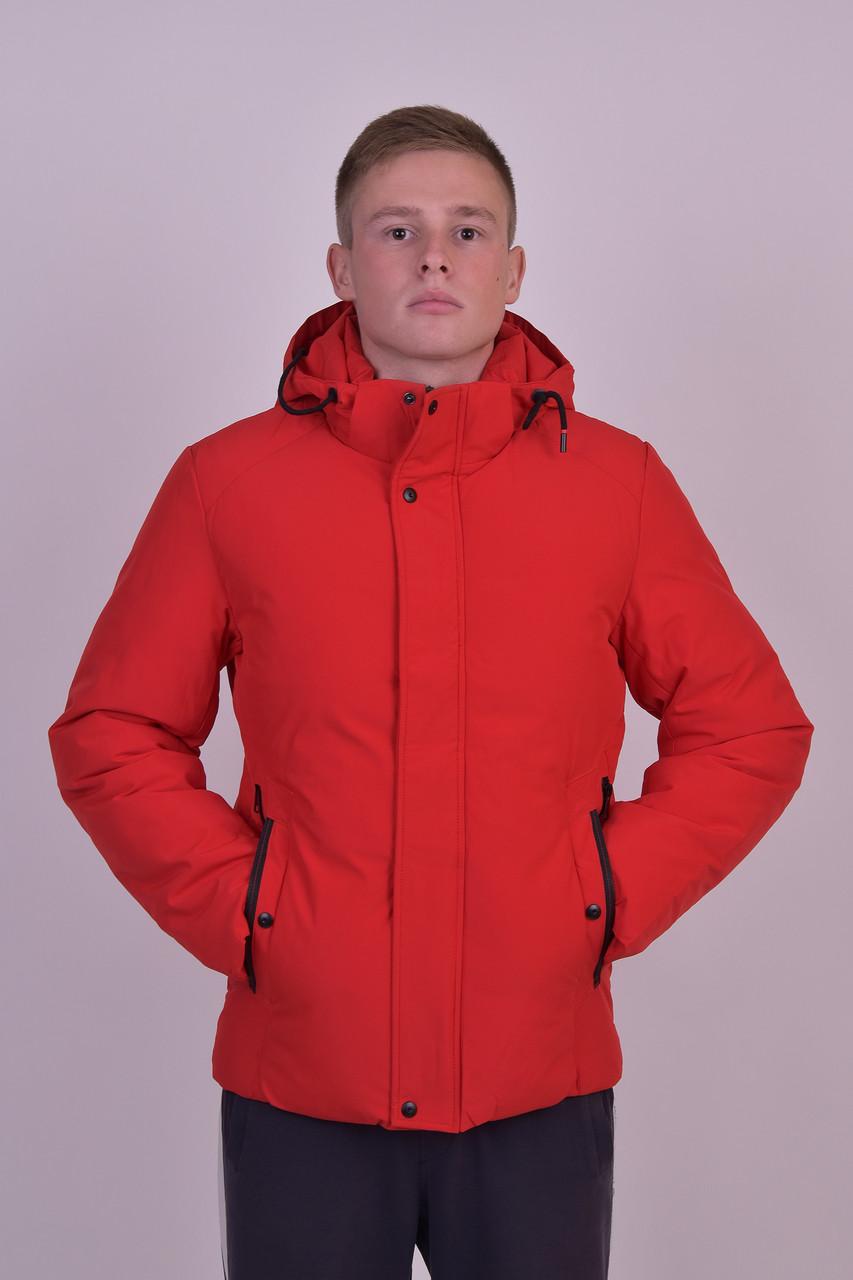 Мужская плотная демисезонная куртка красная