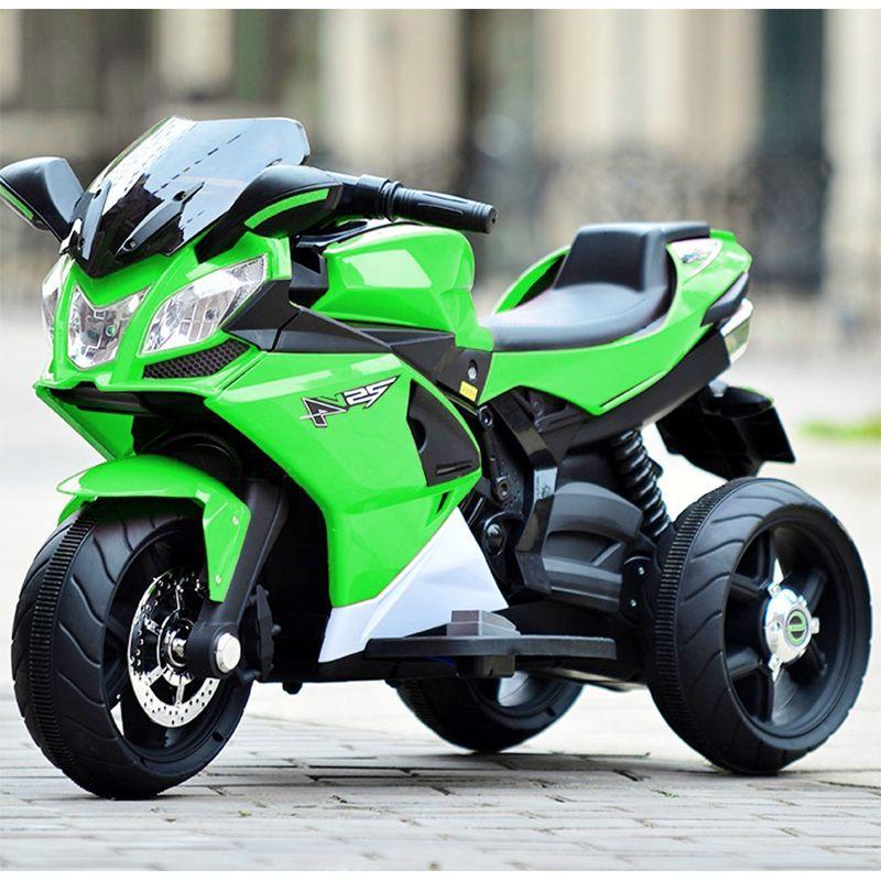 Дитячий електромобіль Мотоцикл M 3912 EL-5, 3-х колісний, Шкіряне сидіння, EVA-гума, зелений