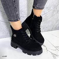 Ботинки женские замшевые чёрные, фото 1