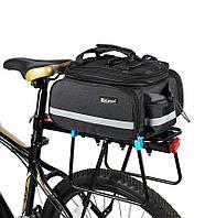 Сумка на багажник для велосипеда West Biking. Раскладываемая до 20 литров. Черная.