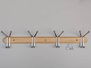Вешалка длиной 63 см настенная ВНДХ4 дерево+металл на 4 крючка