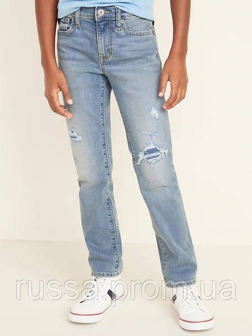 Стильные джинсы с рваными деталями и потертостями Flex Max Олд Неви для мальчика