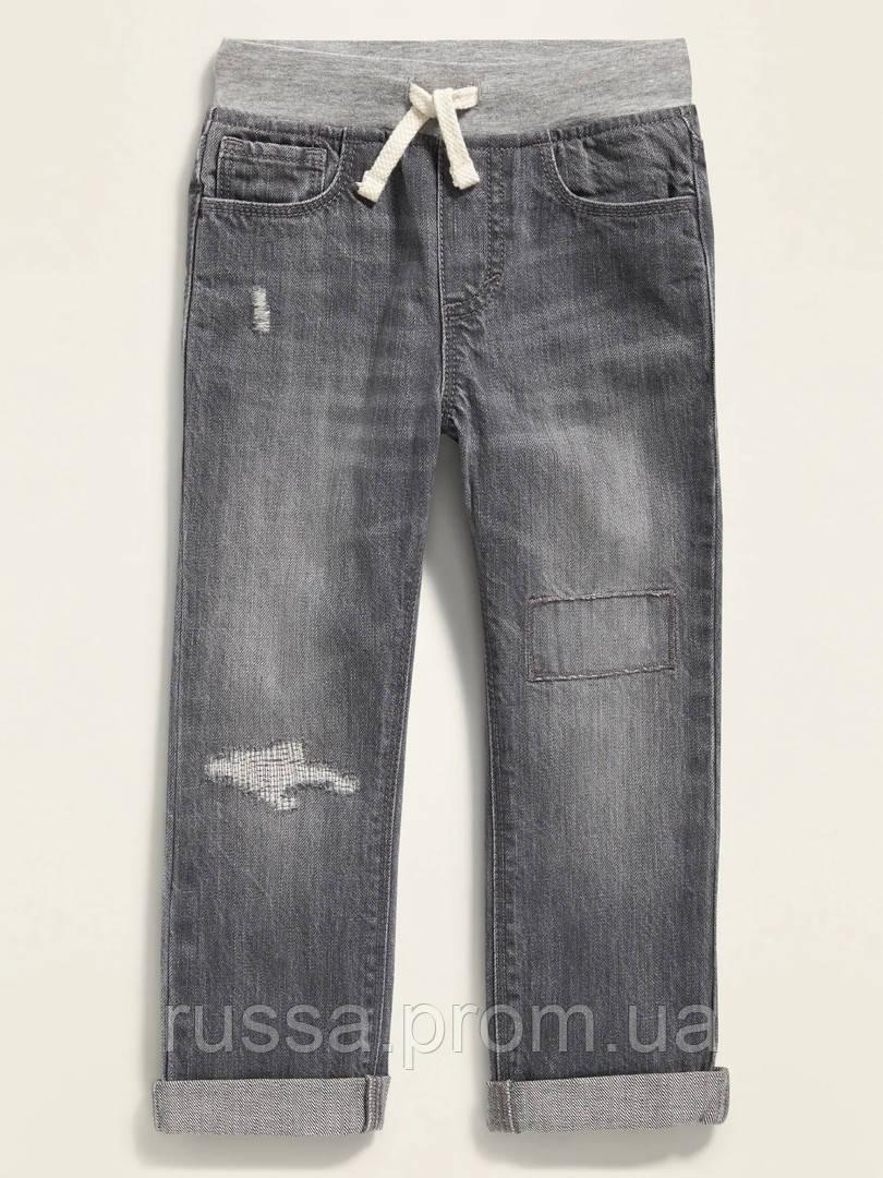 Модные детские джинсы с латками и потертостями Олд Неви для мальчика