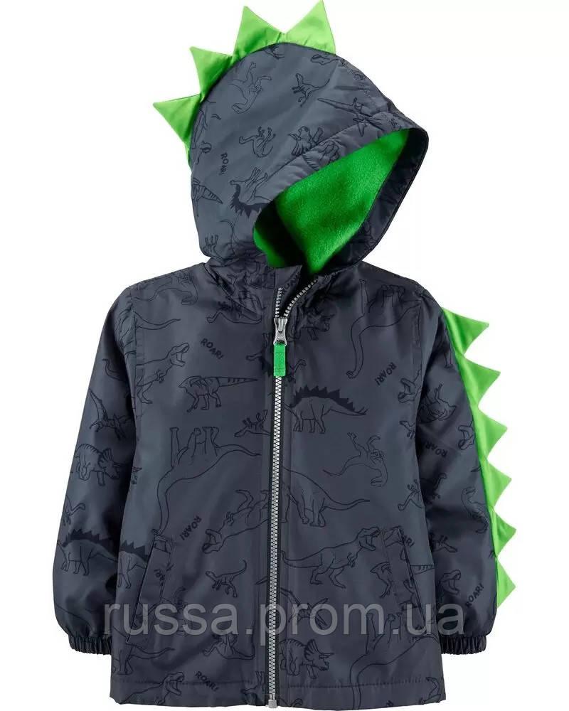 Детская демисезонная курточка на флисовой подкладке Дино Картерс для мальчика