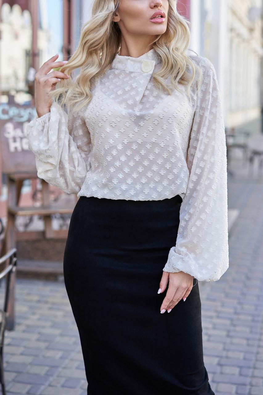 Шифоновая блузка бежевая женская прозрачная