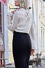 Шифоновая блузка бежевая женская прозрачная, фото 4