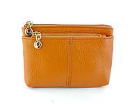 Шкіряний жіночий міні гаманець в світло-коричневому кольорі