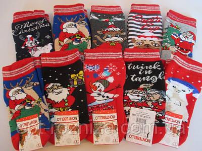 Детские махровые носки с новогодним принтом.