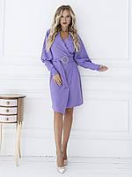 Эластичное фиолетовое платье с декольте на запах M 46