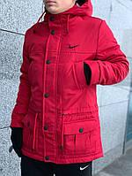 Куртка парка зимняя мужская с капюшоном Найк красная