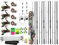 """Набір Короповий """"Carp Hunter"""" 3.6м. х4 Вудилища х4 Котушки +повне спорядження +в Чохлі 130см."""