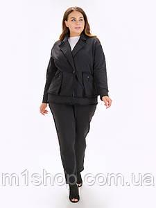 Женский черный пиджак на одну пуговицу больших размеров (Брендон lzn)