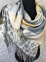 Кашемировый двухсторонний платок клетка с брендом
