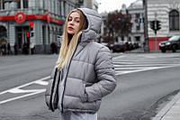 Куртка парка зимняя мужская и женская с капюшоном PUNCH - Puff серая