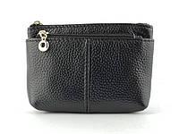 Шкіряний жіночий міні гаманець в чорному кольорі