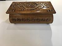 Шкатулка різьбленна з дерева ручної роботи 21*11*8 см, фото 1