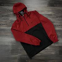 Куртка анорак весна-осень мужской с капюшоном Найк Черный Красный
