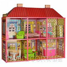 Домик большой для кукол Барби (29 см) с мебелью, 2 этажа, 6 комнат, 128 деталей, арт. 6983