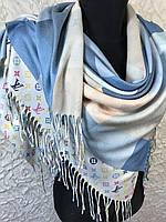 Двухсторонний кашемировый платок брендовый принт с клеткой