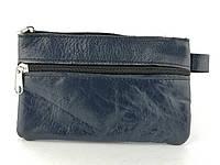Шкіряний жіночий гаманець в синьому кольорі