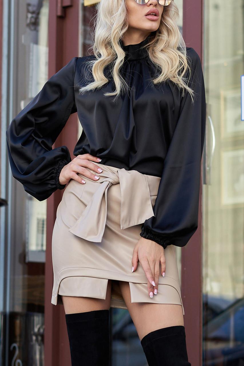 Красива чорна блузка з шовку жіноча