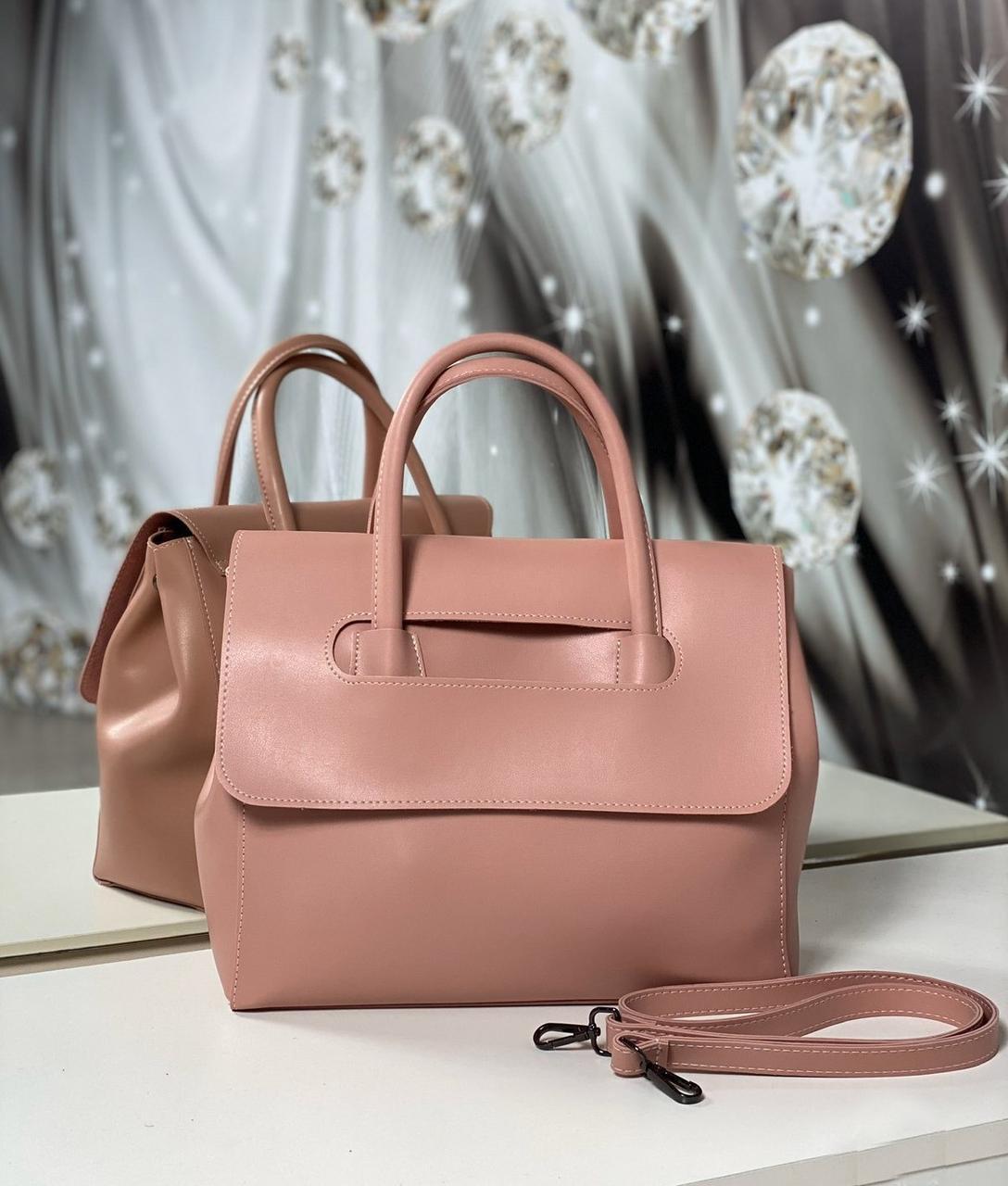 Пудровая женская классическая сумка небольшая средняя сумочка экокожа