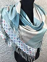 Теплый двухсторонний платок клетка-бренд в бирюзовых оттенхах