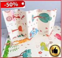 Детский термо коврик складной двусторонний 1.8х1.5 м мягкий игровой теплый коврик для ползания малыша ростомер