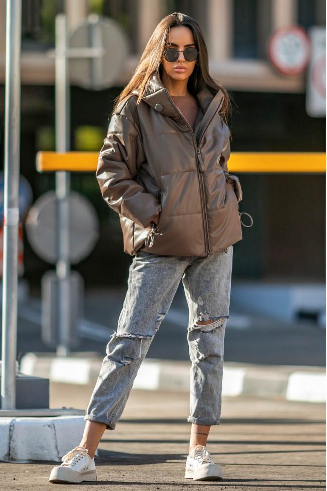 Осіння жіноча коротка куртка на блискавці з екошкіри 42-50 р Соната