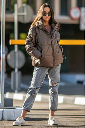 Осіння жіноча коротка куртка на блискавці з екошкіри 42-50 р Соната, фото 2