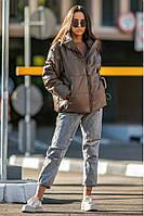 Осенняя женская короткая куртка на молнии из экокожи 42-50 р Соната