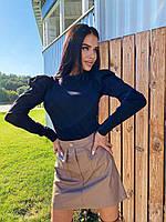 Комплект кофта из трикотажа и юбка из эко-кожи, фото 1