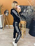Костюм женский Dior Диор велюровый спортивный, прогулочный, повседневный, с капюшоном, норма и батал, фото 3