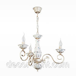 Люстра белая керамическая с цветочным рисунком 3-х ламповая со свечами для спальни 10603