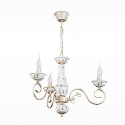 Люстра біла керамічна з квітковим малюнком 3-х лампова зі свічками для спальні 10603
