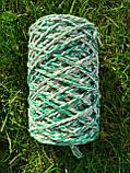 Еко шнур бавовняний крученный 4мм меланж Зелений+натуральний, фото 2