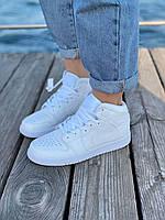 Белые высокие кроссовки Nike Air Jordan 1 Retro White (Белые кроссовки Найк Аир Джордан размеры 36-45)