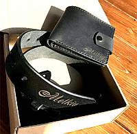 Подарочный набор с именной гравировкой ручной работы.Набор кожаный ремень и кошелек. Подарок для мужчины